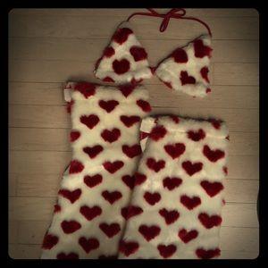 Accessories - Valentine's Day Heart Fur Leg Warmers